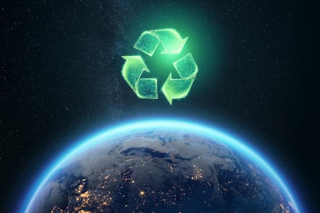 地球の背景にサインをリサイクル