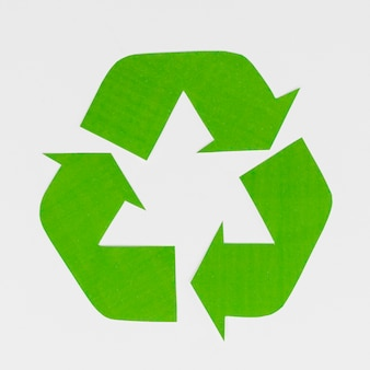 Recycling symbol on grey background