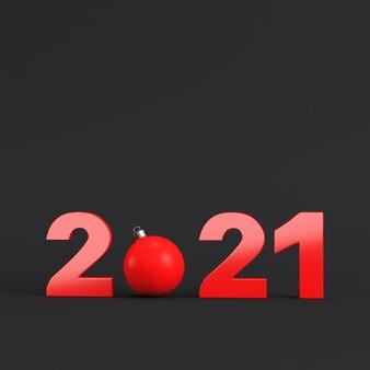 暗い背景に赤い2021年の数字