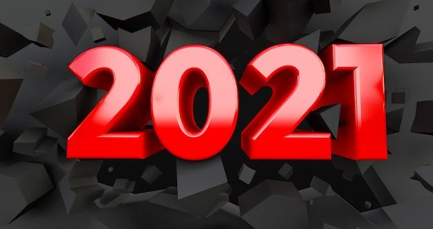 Красный 2021 новый год на потрескавшемся черном