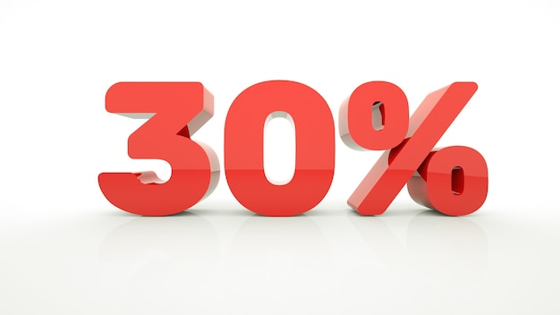 Red 30 percent off 3d sign on white background sale up to 30 percent off 3d rendering