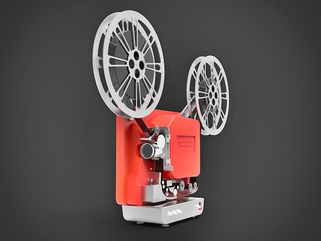Красный кинопроектор 3d кино изолированный на серой предпосылке. 3d рендеринг.