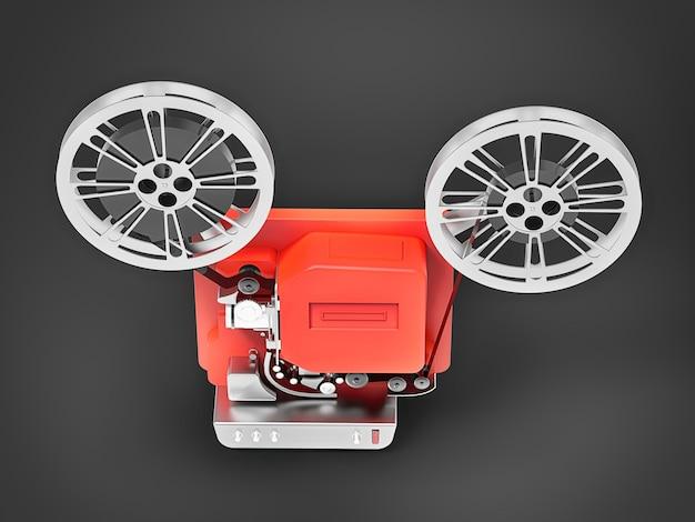 회색 배경에 격리된 빨간색 3d 시네마 필름 프로젝터. 3d 렌더링.