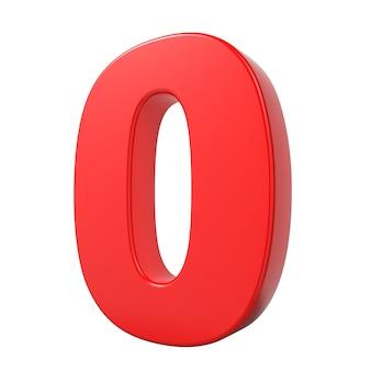 Красный 3d цифра 0, изолированные на белом фоне