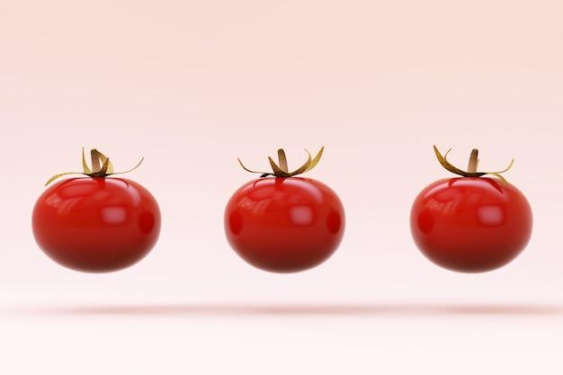 白い孤立した背景にトマトの赤い3dモデル。赤い完熟トマト、3dグラフィックス。白い孤立した背景に3つのトマトのセットです。閉じる