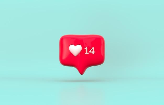 레드 3d 소셜 미디어 알림 사랑 아이콘. 발렌타인 데이 개념.