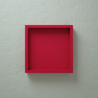 Red 3d square box wall display