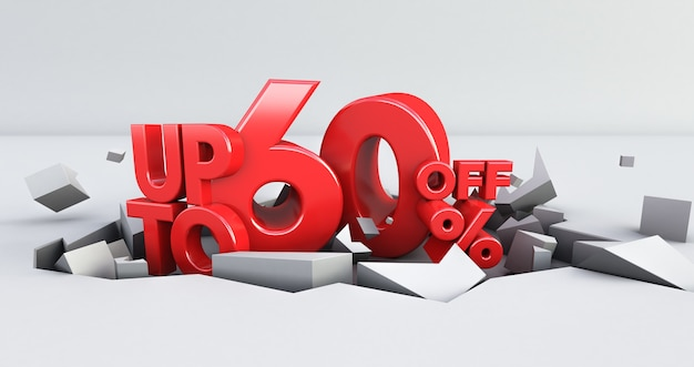 Red 60% number isolated on white background . 60 sixty percent sale. black friday idea. up to 60%. 3d render