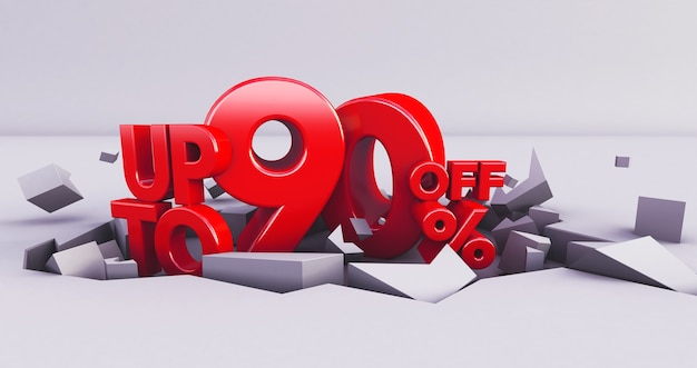 Red 90% number isolated