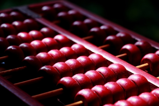 Red abacus. old abacus for calculate.