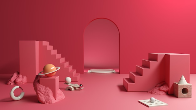 Red abstract composition platform and cosmetics presentation, 3d illustration