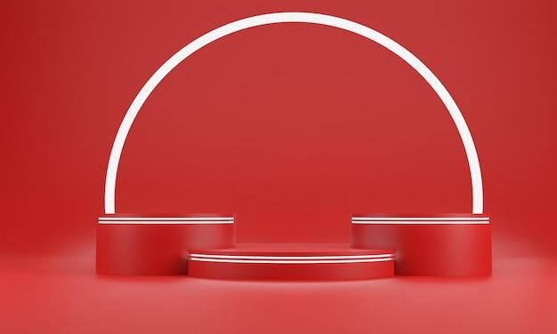 레드 추상 기하학 모양 배경입니다. 화장품 또는 다른 제품, 3d 렌더링을위한 빨간색 연단 및 흰색 글로우 바 모형 장면