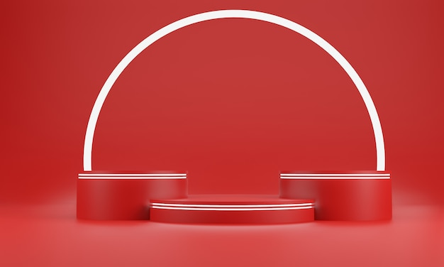 Red abstract geometry shape background. red podium and white glow bar mockup scene for cosmetic or another product, 3d rendering