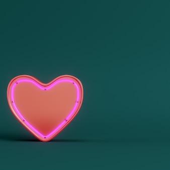 진한 녹색에 원형 프레임 받침대에 붉은 추상 심장 모양