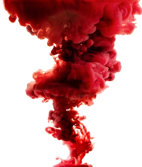 Red abstract isolated on white. spilled ink
