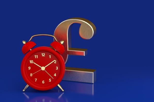 빨간색 알람 시계와 파운드 스털링의 상징입니다. 3d 렌더링