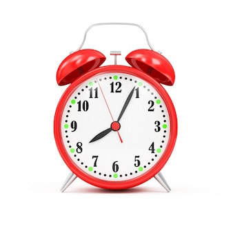 Red alarm clock isolated in 3d rendering