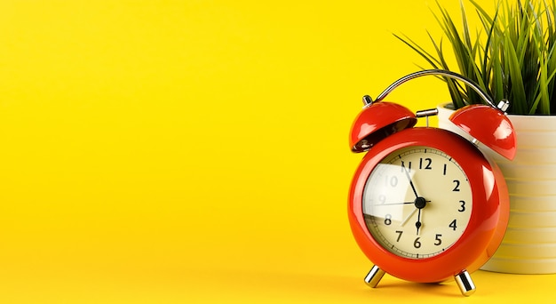 Red alarm clock in retro style on a bright yellow background. near a flower in a pot. desktop.