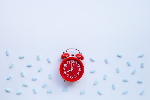 Red alarm clock ring with