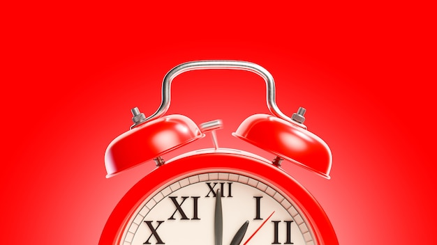 Red alarm clock with clipping path. alarm at 01.00. minimal idea concept.