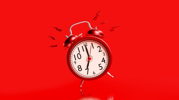 Red alarm clock with clipping path. alarm at 07.00. minimal idea concept, 3d render.