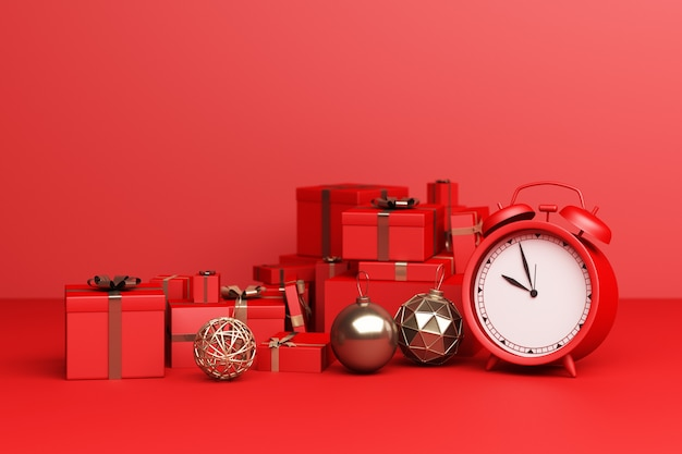 Red alarm clock with red a lot of giftbox on a red background. 3d rendering
