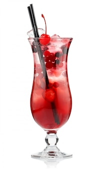 Red alcohol cocktail with berries isolated on white