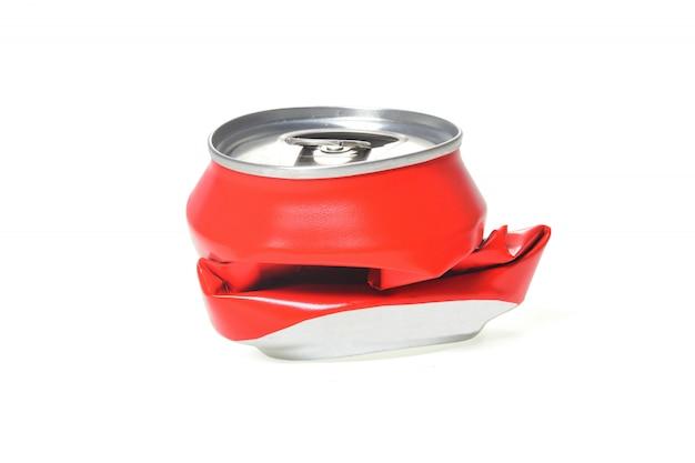 Red aluminum can flattened