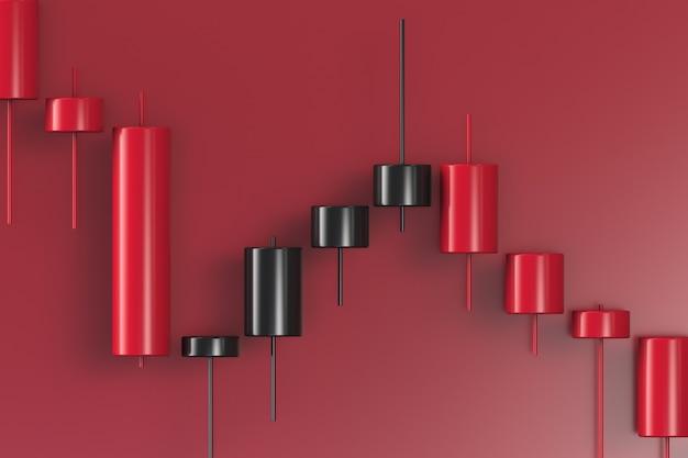 赤の背景に赤と黒のダウングレードグラフィック