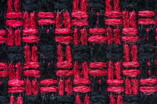 빨간색과 검은 색 직물 근접 촬영