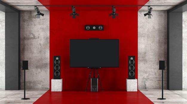 빨간색과 검은 색 홈 시네마 시스템