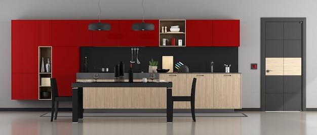 赤と黒のモダンなキッチン