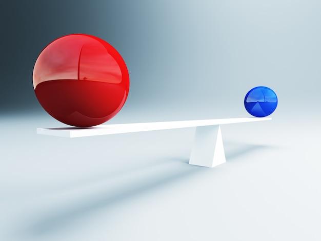 Красные и синие сбалансированные шары