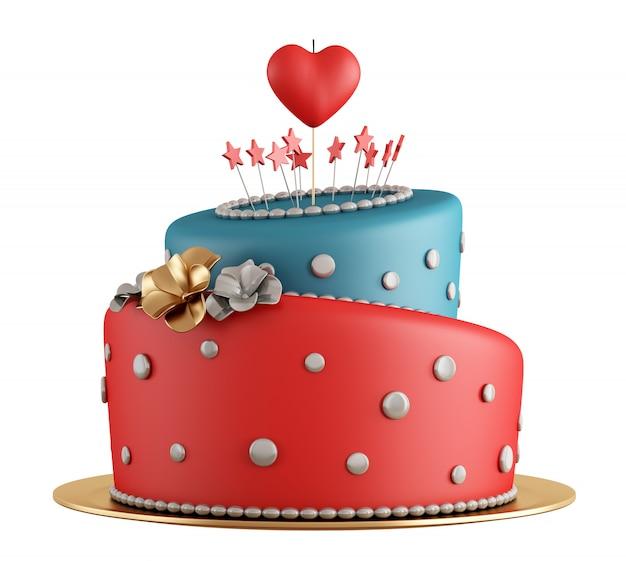 赤と青の誕生日ケーキ