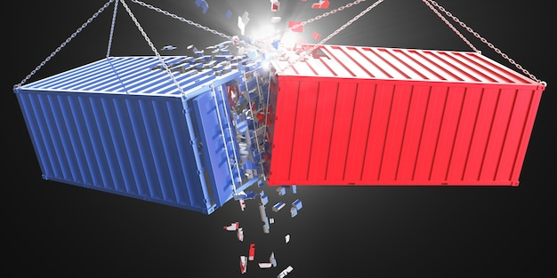 Разбиваются красные и синие металлические ящики