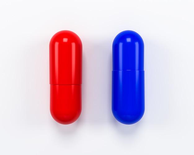 Красный и синий изолят таблетки на белом фоне. 3d иллюстрация