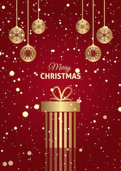 ぶら下げつまらないものと赤と金のクリスマスプレゼントの背景