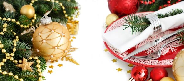 白で隔離の赤と金色のお祭りテーブルの設定