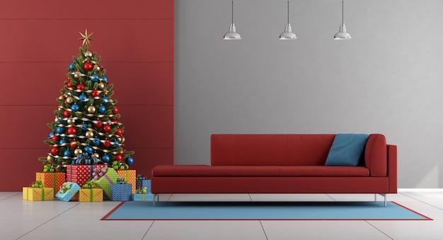 빨간색과 회색 크리스마스 거실