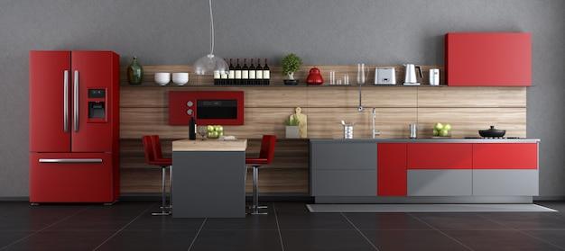 빨간색과 회색 현대 부엌 프리미엄 사진