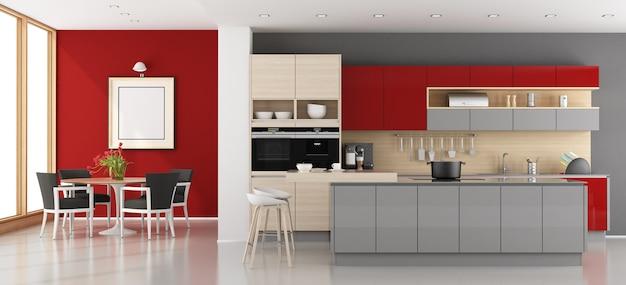 赤と灰色のモダンなキッチン