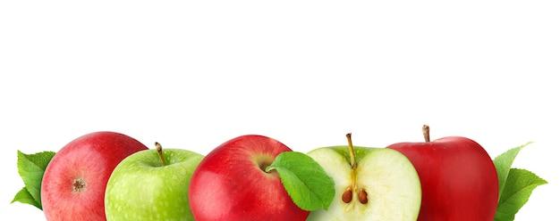 コピースペースを持つバナー、白で隔離される行の赤と緑のリンゴ