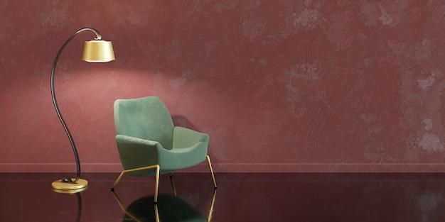 Красно-зеленый минималистичный дизайн интерьера с золотыми деталями, лампой и диваном.