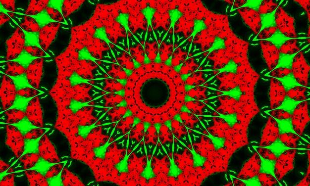 Красный и зеленый психоделический калейдоскоп. окрашенная ткань завихрения. кисть ikat colourful art. 2021-е психоделический калейдоскоп. акварель прохладный фон. розовый украсить икат. круг Premium Фотографии
