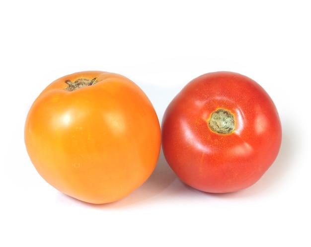 붉은 색과 오렌지색 토마토 흰색 배경에 고립