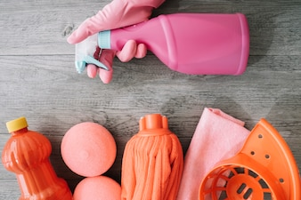 Red and pink cleaning objects