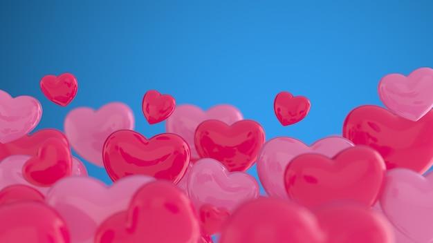 青い壁に赤とピンクのハート