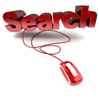Красно-белая трехмерная иллюстрация поиска слова, подключенного к компьютерной мыши