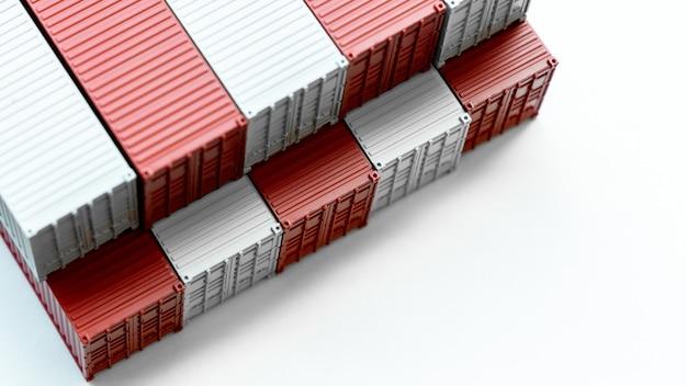 赤と白の貨物コンテナ、流通ボックスのインポートエクスポート、白い背景のグローバルビジネス輸送配送貨物国際ロジスティック海運業界。