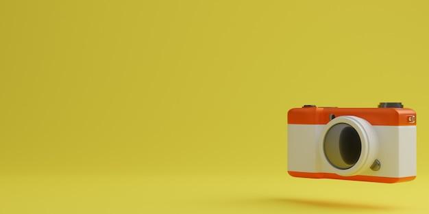 노란색 배경, 기술 개념에 빨간색과 흰색 디지털 카메라. 3d 렌더링